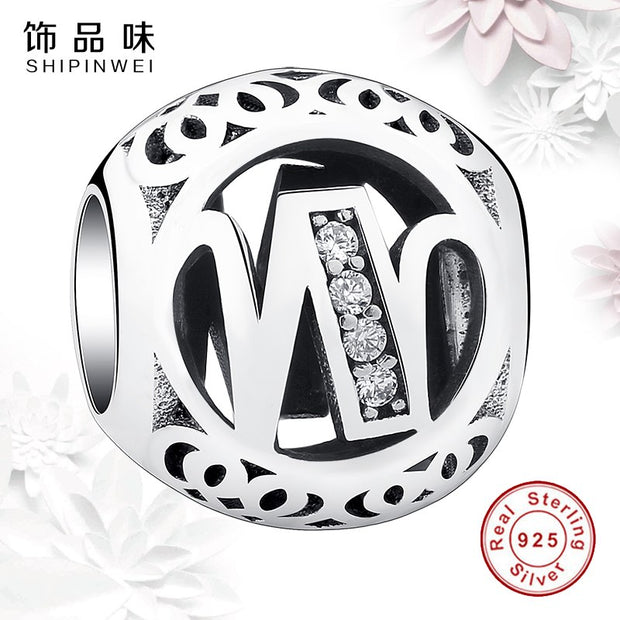 EVOJEW 925 Stering Silver Alphabet W Beads Fits Pandora Jewerly Making Accessories Crystal Letter Bead For Women Charms
