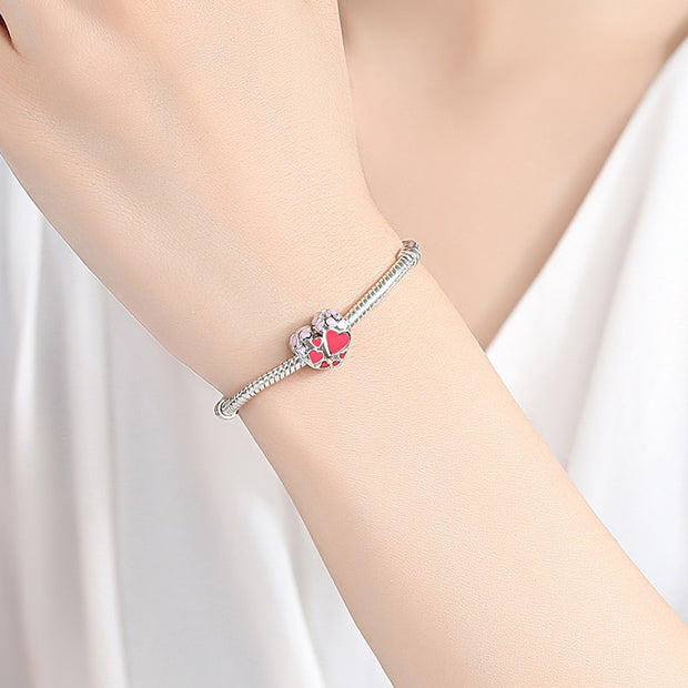 EVOJEW New 100% 925 Sterling Silver Heart Charms With Pink & Red Enamel Beads Fit Pandora Bracelet Silver Jewelry Accessories