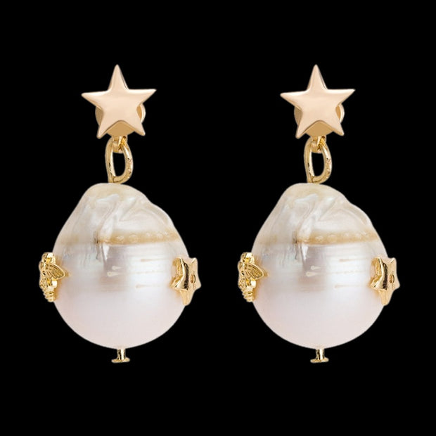 Elegant 1Pair Fashion Women Lady Copper Star Shape Earrings Faux Pearl Pendant Drop Earring Jewelry Decoration For Girl Gift