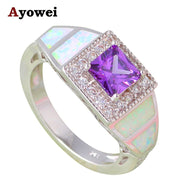 Elegant Crystal Square Purple Zircon Design White Fire Opal Silver Stamped Fashion Jewelry Rings USA Sz#6#7#8#9#10 OR794A