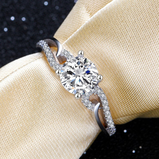 Elegant Hollow Solid 925 Sterling Silver CZ Wedding Engagement Ring