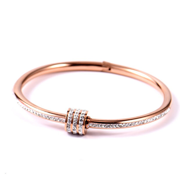 Elegant Simple Delicate Bracelet Gold Stainless Steel Women OL Bracelet Dropshipped Bangle Trendy Rhinestone Fashion Jewelry