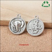 Elephant Mini Order Various Design Animal Elephant Pendant Connector Antique Metal Round Embossed Charms Diy Jewelry Findings