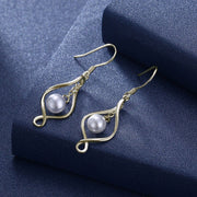 Eleple 925 Sterling Silver Water Drop Shape Simulated Pearl Earrings For Women Simple Trendy Earring Fashion Jewelry EPTEE008