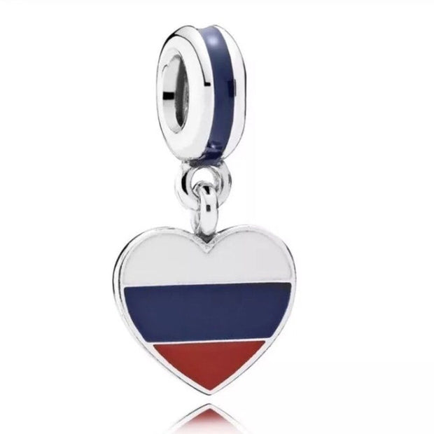 Enamel Love Heart Flag Canada Britain Germany Russia Pendant Charm Fit Pandora Bracelet 925 Sterling Silver Bead Jewelry