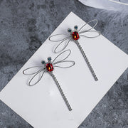 Exquisite Red Dragonfly Stud Earrings Full Rhinestone Long Earrings Lady Hollow Crystal Tassel Earrings Jewelry