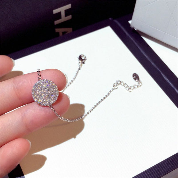 FAFEINA New Fashion Charm Bracelets Women Bracelets Rose Gold And Silver Colors Rhinestone Round Chain Bracelets For Women