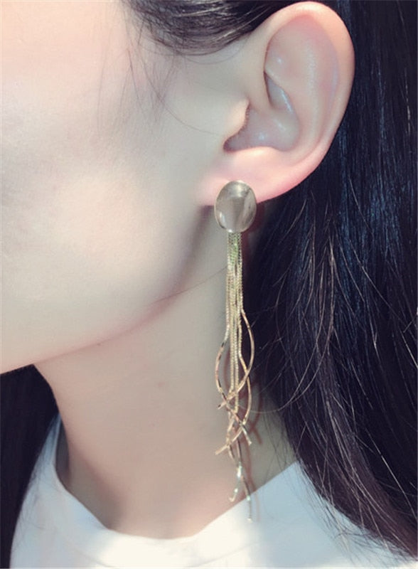 FAFEINA New Fashion Metal Tassel Earrings Women Long Earrings Exaggerated Circle Dangle Earrings For Women Jewelry