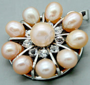 FASHION WOMEN'S NATURAL PINK 6-7MM FRESHWATER PEARL CRYSTAL COROLLA PENDANT