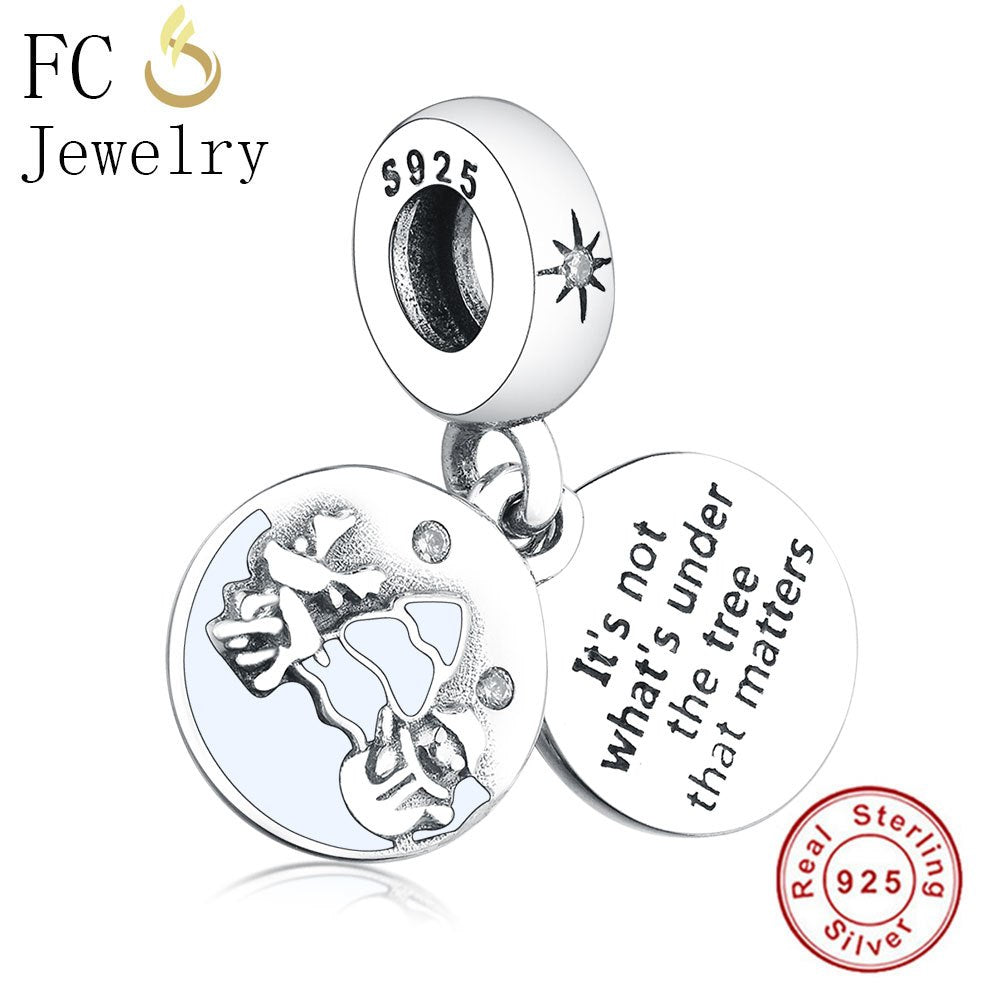 925 Sterling Silver Christmas Snowman Tree Round Beads fit Authentic Original