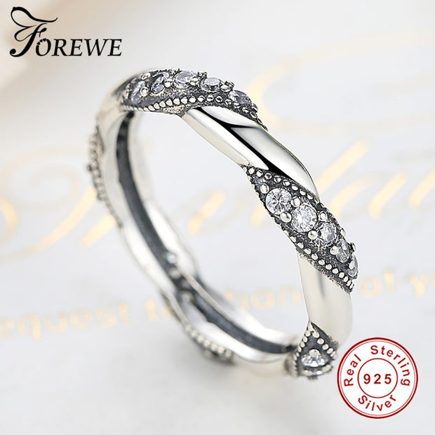FOREWE 925 Sterling Silver Twist Ribbon Wrap Wave Ring For Women Wedding Engagement Clear CZ Crystal Finger Rings Women Jewelry
