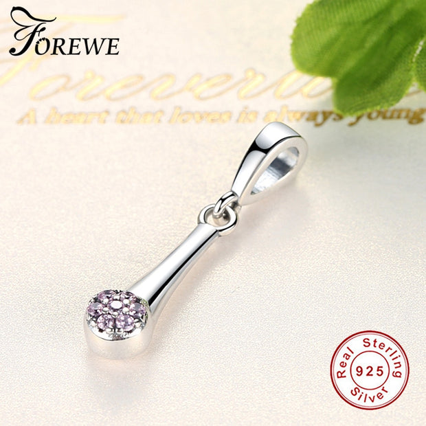 FOREWE Authentic 925 Sterling Silver Beads Crystal Pendant Fit Original Pandora Bracelets Necklace DIY Charms