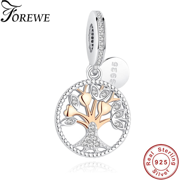 FOREWE Silver Beads Fit Original Pandora Charms Bracelet 925 Sterling Silver Family Tree Of Life Charms For Women DIY Jewelry