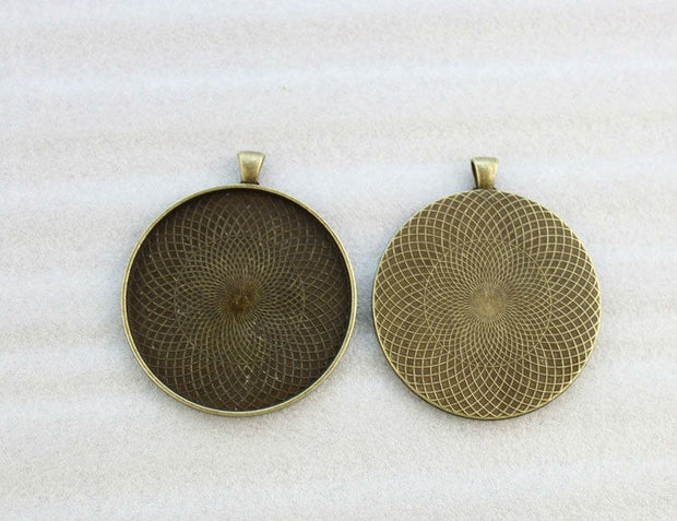 "FREE SHIPPING 10PCS Antiqued Bronze 2"" Round Pendant Trays Cabochon Settings #23581"