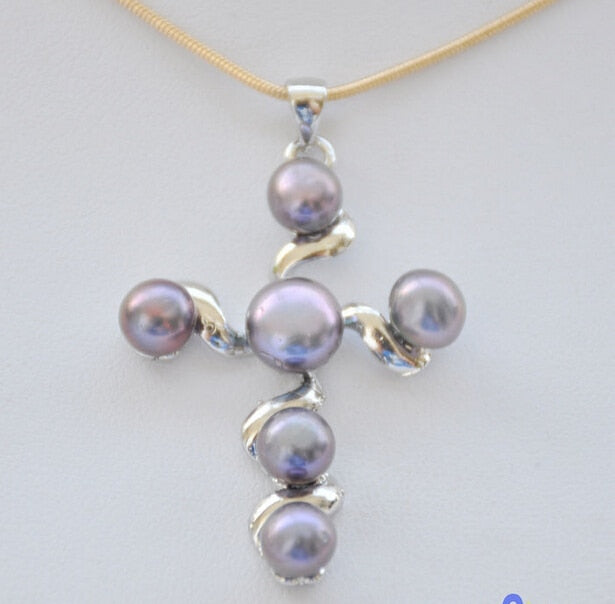 FREE SHIPPING P4919 8MM Black Round FRESHWATER PEARL Cross PENDANT CHAIN