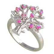 Factory Price Party Girls Purple Tree Purple Fire Opal Silver Stamped Rings Fashion Opal Jewelry USA Sz#7#7.5#8 #9 OR584A