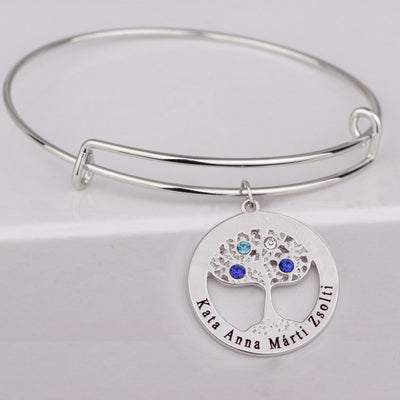 Family Tree Bangles Custom Made Names & Birthstones High Quality White Gold Plating Jewelry Can Drop Shipping YP3067