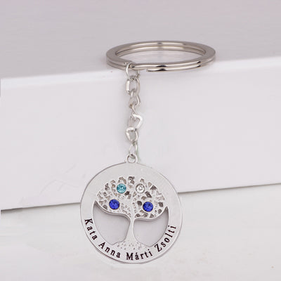 Family Tree Key Chain Custom Any Names & Birthstones Gift For Family YP3057