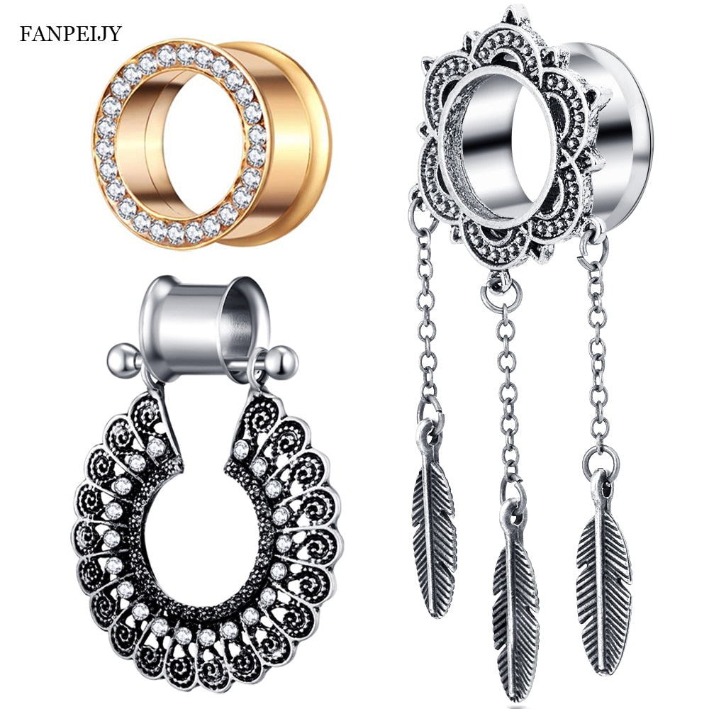 PAIR-Ear Tunnels-Ear Gauges-STAINLESS STEEL Ear Stretching Tunnel-Ear Plugs