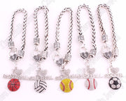 "Fans Favorite Sports Jewelry Drop Shipping 1.2""*1.3"" Inches I Love Softball 2D Pendant Wheat Link Chain Lobster Claw Bracelets"