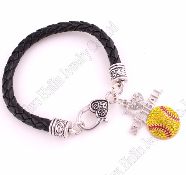 "Fans Favorite Sports Jewelry Drop Shipping 1.2""*1.3"" Inches I Love Softball 2D Pendant Leather Chain Lobster Claw Bracelets"