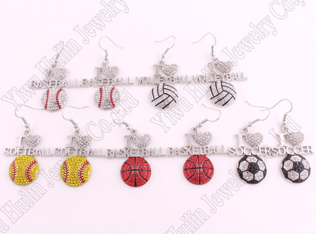 "Fans Favorite Sports Jewelry Drop Shipping 1.3""*1.3"" Inches I Love Volleyball 2D Crystal Pendant French Hook Earrings"