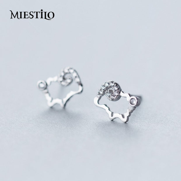 Farm Lover Cute Sheep 925-sterling-silver Stud Earrings | Animals Outline Mounted Rhinestones Sterling-silver-jewelry Wholesale