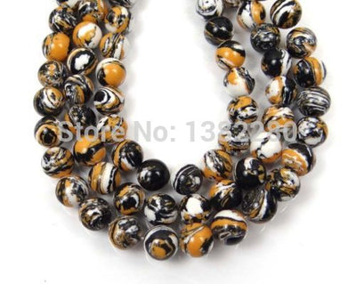 "! Fashion 8mm Jewelry Tiger Swirl Chalcedony Round Beads 15"" 2 Pcs/lot Jewelry JT5355"