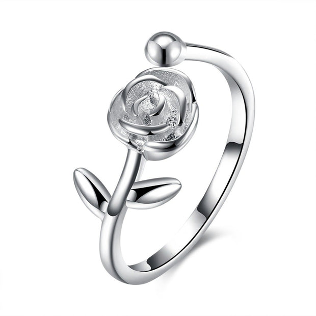 Fashion 925 Sterling Silver Women Rings Free Size Open Simple Rose Rings For Lady Girl Party Silver Rings Casual Jewelry Gift