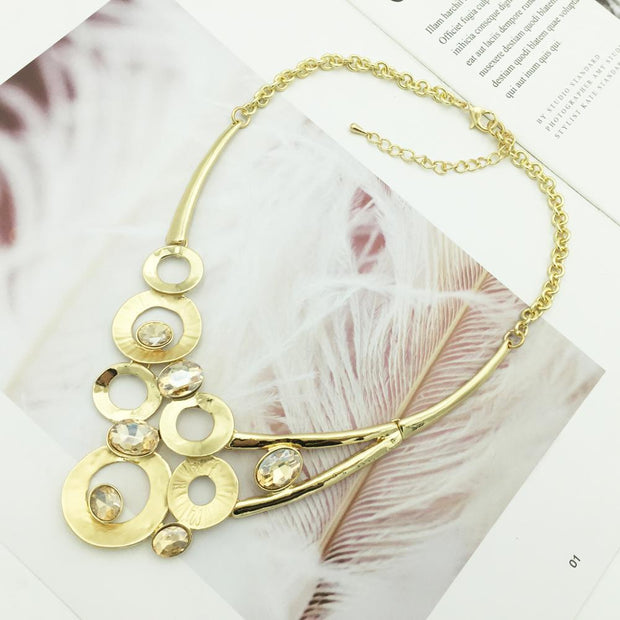 Fashion Alloy Pendant Necklace Unique Design Crystal Gothic Jewelry Gold/Silver Colors Women Sieraden Costume Accessories
