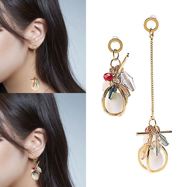 Fashion Asymmetrical Crystal White Stone Earrings Long Tassel Geometric Drop Earring Dangle Pendientes Jewelry Brincos 2018