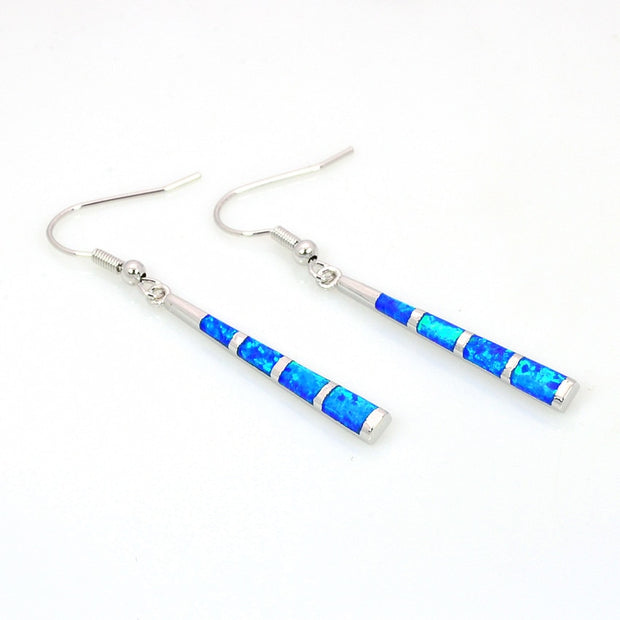 Fashion Baseball Bat Blue Fire Opal Earring Silver Filled Double Earrings For Women EF171022002