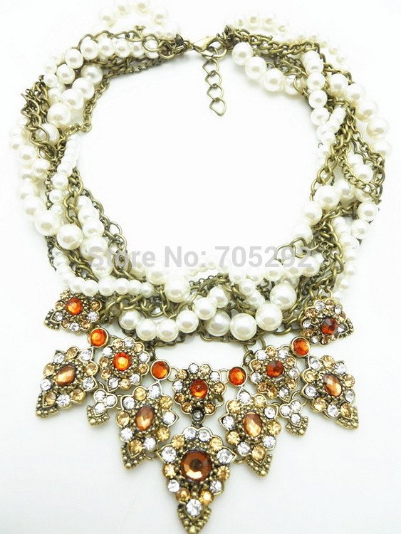 Fashion Crystal Multilayer Pearls Choker Necklace For Women New Design Statement Collar Jewelry