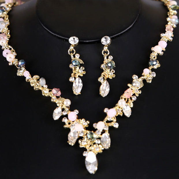 Fashion Designed Flower Crystal Pearl Bride Necklace Earrings Set Bridal Wedding Prom Jewelry Sets For Women BH