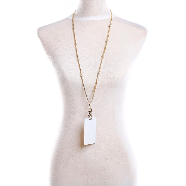 Fashion Fresh Crystal Ball Necklace Lanyard For Women Gold Chain ID Badge Holder 34'' - Tassle And ID Hook