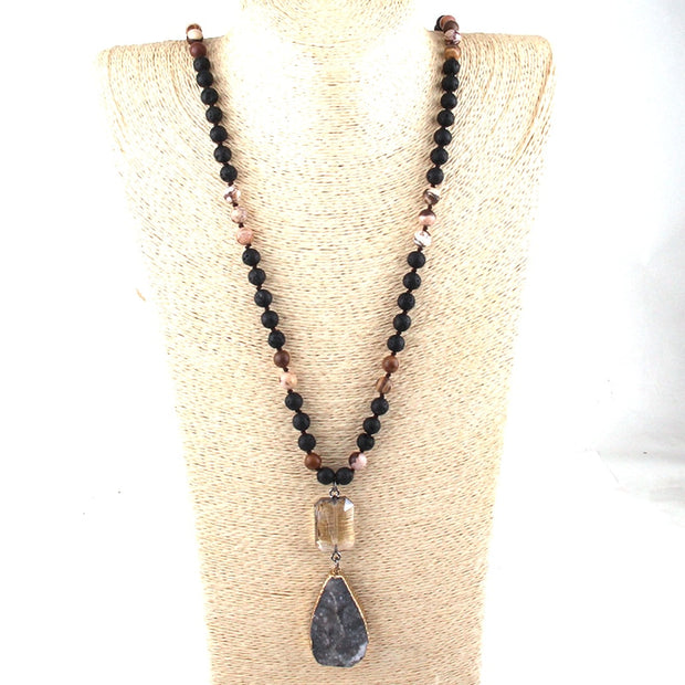 Fashion Jewelry 108 Beads Multi Stone Knotted Crystal Link Natural Druzy Drop Pendant Necklace Wome Yoga Necklace