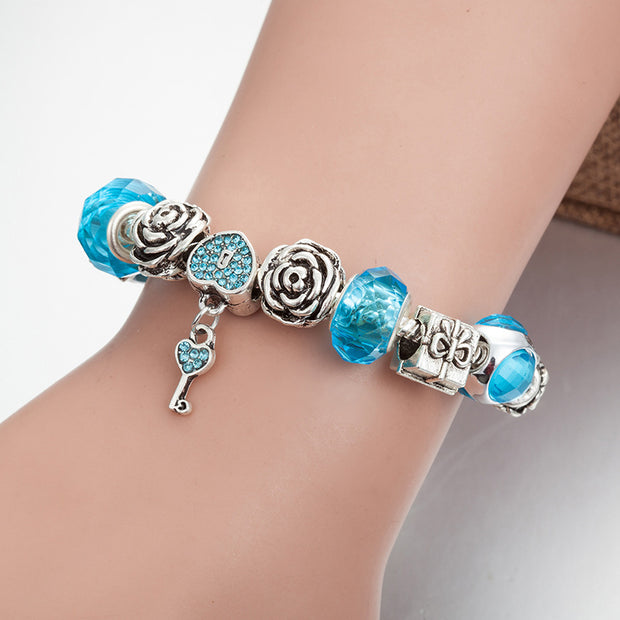 Fashion Jewelry Bracelets.Pandora's Bracelet,Crystal Glass Beads Bracelet,Girl's Gift
