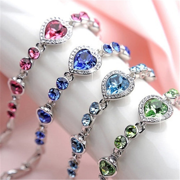 Fashion Jewelry Charm Bracelet Heart Bangle Bracelet Women Christmas Gifts Crystal Rhinestone Fine Jewelry Girls Chain Bracelet