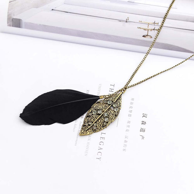 Fashion Jewelry For Women Sweater Chain Necklace Black Feather Tree Leaf Leaves Sweaters Chains Necklaces Long Bohemia Metal