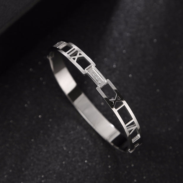 Fashion Jewelry Stainless Steel Men And Women Love Bracelets Bangles Roman Numeral Cuff Bracelet Jewelry