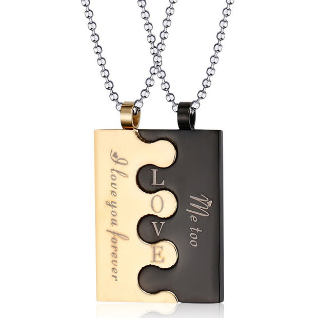 Fashion Lock Couples Necklace & Pendants For Men / Women Stainless Steel Wedding Jewelry