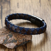 Fashion Male Leather Bangles Black Stainless Steel Magnetic Clasp Braided 2 Tones Cuff Leather Bracelets Jewelry For Cool Men