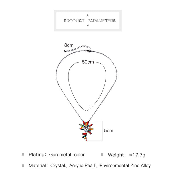 Fashion Necklace Jewelry Brand New Black Alloy Short Chain Colorful Acrylic Irregular Pendant Necklace For Women Girl N1059c