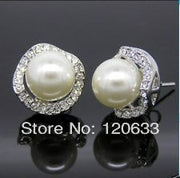 Fashion Round Shell Pearl 10MM White Crystal Surround Lady Women Penetrate Ear Studs Earring Wholesale Silver Hook Earrings