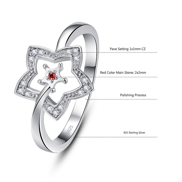 Fashion S925 Sterling Silver Ring Hollow Out Star Pattern Red CZ Romantic Finger Ring For Women Wedding Jewelry Gift