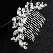 Fashion Silver Leaf Crystal Bridal Hair Comb Handmade Wedding Hair Accessories Hair Jewelry Women Party Headpiece