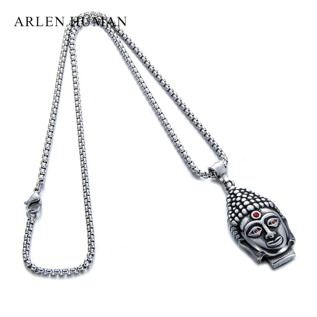 Fashion Tibetan Buddhism Buddha Head Pendant Men's Necklace Stainless Steel Pendants Chain Necklaces For Women Men Jewelry