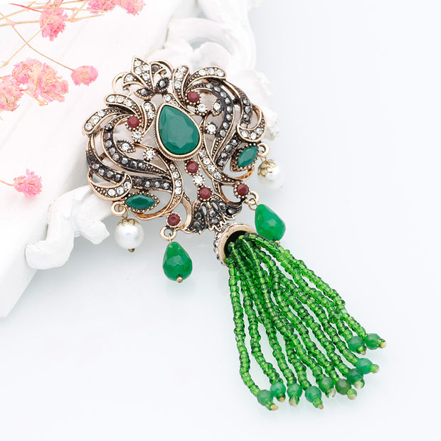 32ee00ec5c Fashion Turkish Women Red Bead Flower Brooch Pins Antique Gold Color ...