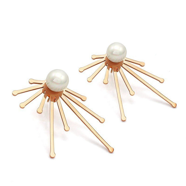 Fashion Woman Earrings Stainless Steel Plating Rose Gold Plus Pearl Personalized Earrings Gift Jewelry Free Shipping 1 Pair