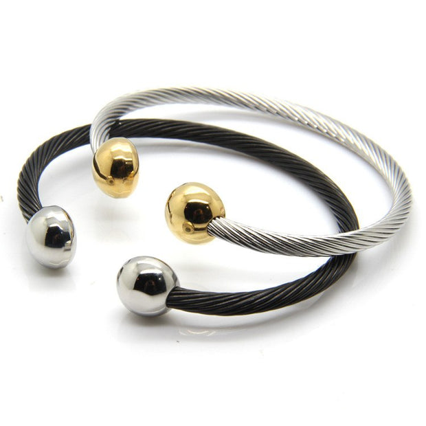 Fashion Women Black Silver Gold Ge Element Twisted Titanium Steel Open Clasp Cable Wire Cuff Bracelets Bangles Jewelry